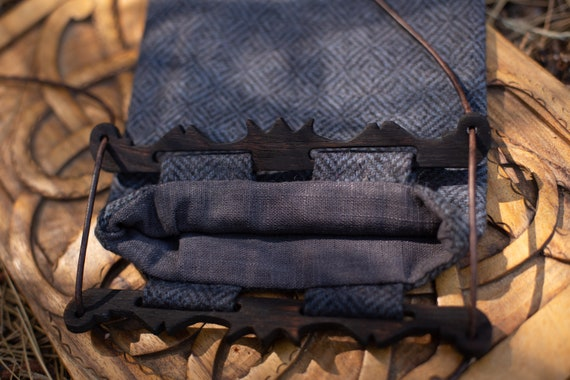 Hedeby Bag W/ Blackened Oak Handles, Diamond Twill Wool And Linen Lining
