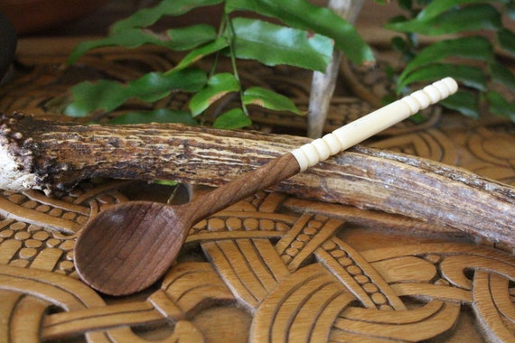 Hand Carved Wooden and Bone Spoon