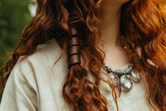 XL Leather Hair Spiral Beads
