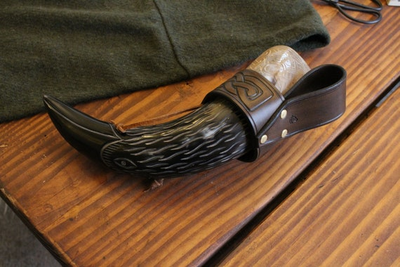 READY TO SHIP Raven Viking Drinking Horn W/ Holder