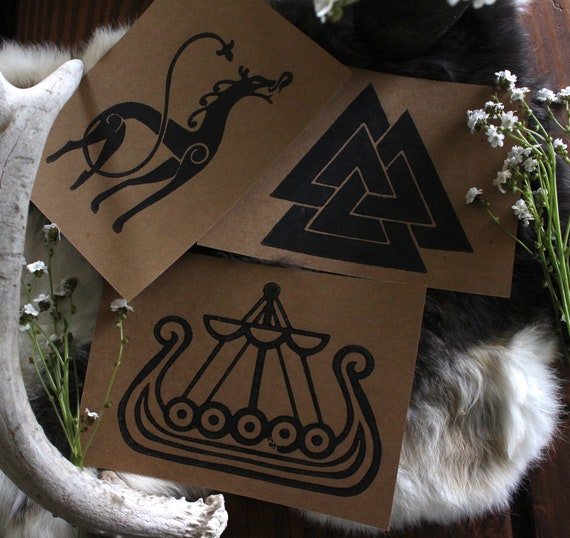 Handmade Cards With UrnesDragon, Vikingship and Valknut Design