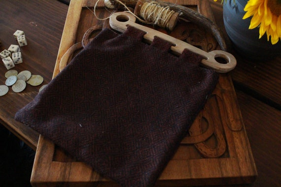 Wool Hedeby Bag With White Oak Handles  And Linen Lining