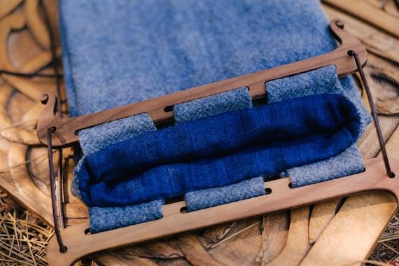 Large Oseberg Style Bag W/ Walnut Handles, Diamond Twill Wool And Silk Lining