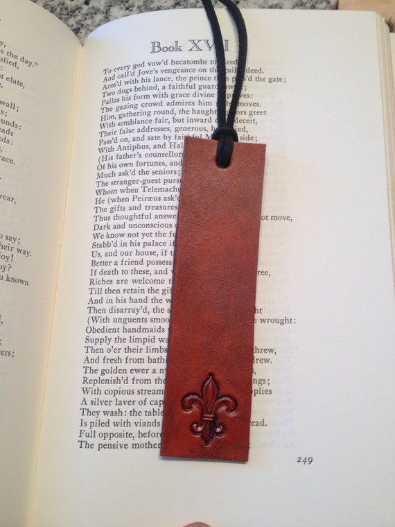 Charming Hand Stamped Leather Bookmark