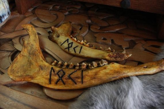Carved Loki norse jawbone Rune