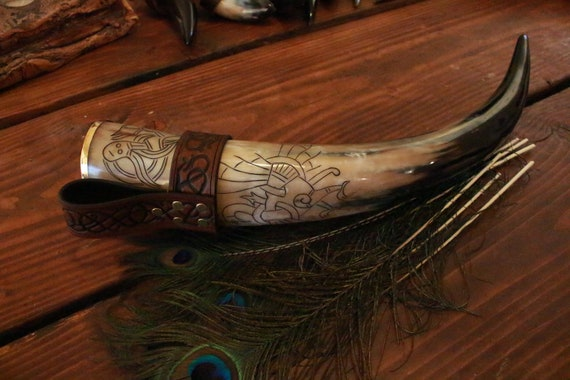 Ready To Ship Carved XL Drinking Horn