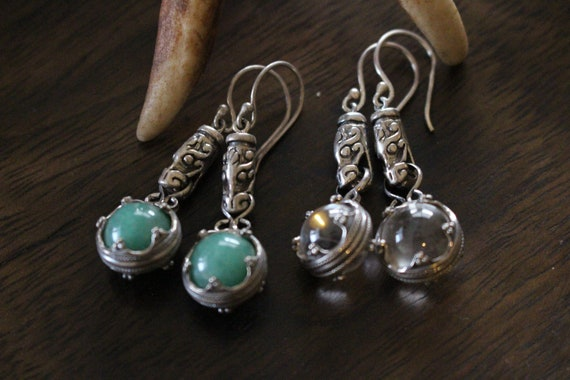 READY TO SHIP Viking Age Gotland Sterling Silver or Bronze and Crystal Earrings