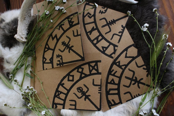 Hand printed cards with Vegvisir / Norse Compass and Elder Rune row design.