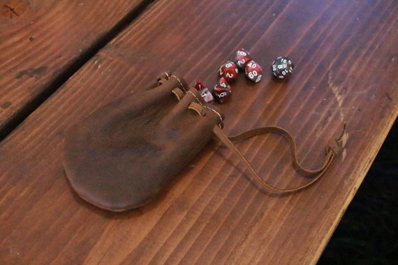 Leather DnD Lined Dice Pouch