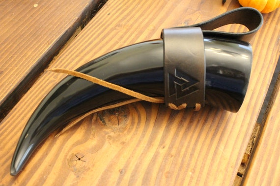 READY TO SHIP Valknut Viking Drinking Horn W/ Holder