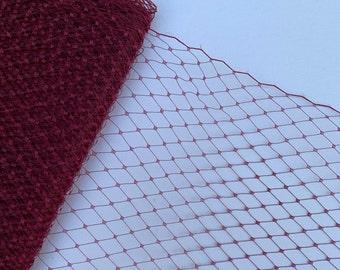 Wine Birdcage Veiling // Small Window Netting // Wedding Millinery // Fascinator Supplies // Hat Making