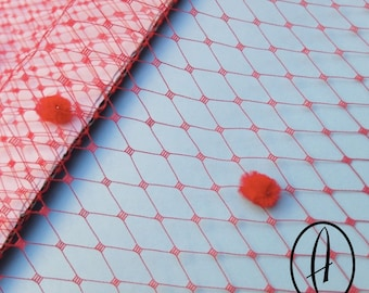 Small Window Millinery Spot Veiling // Fascinator Dotted Net // Wedding Birdcage // Hat Supplies - Red