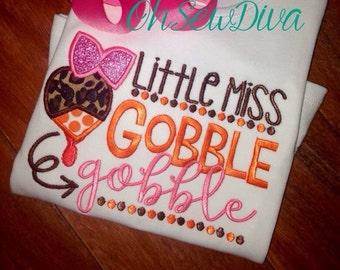Little Miss Gobble Gobble Turkey Thanksgiving Shirt