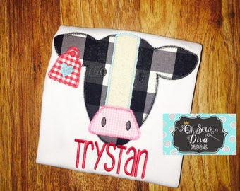 Boy's Cow with Heart Tag Valentine Applique Shirt or Bodysuit; Monogram included; Personalized