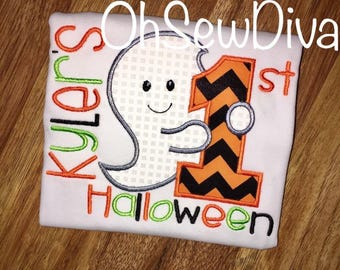 Boy's First Halloween Ghost Applique Shirt or Onesie; Romper Option Available