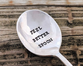vintage silverplate thoughtful gift Get well soon spoon stamped spoon handmade caring gift get well