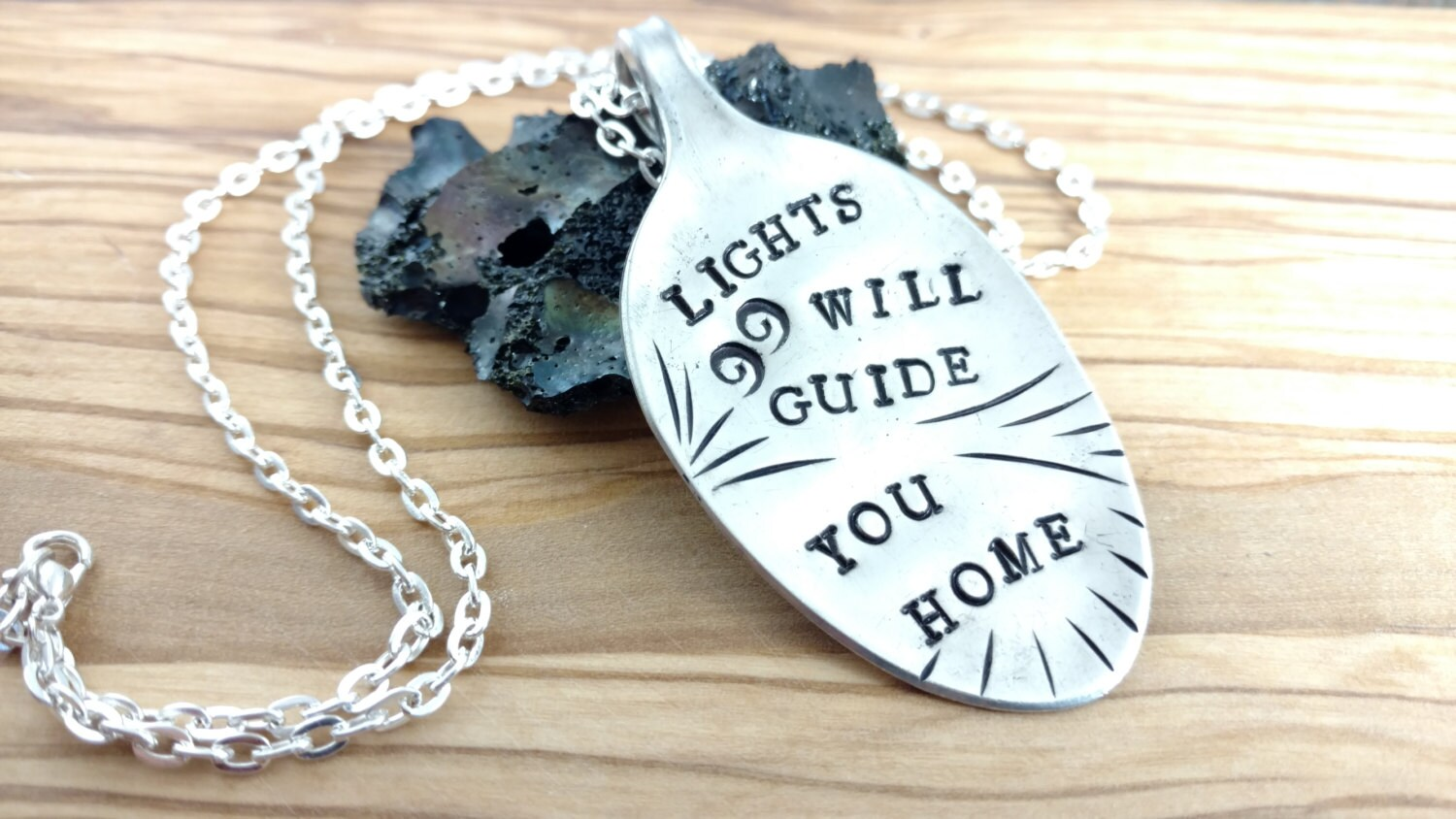 Coldplay Necklace Hand Stamped Silver Spoon Pendant Coldplay