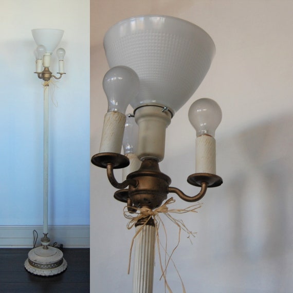 Free Shipping Vintage White Torchiere Floor Lamp Solid Etsy