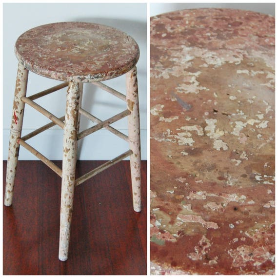 Excellent Rustic Wood Stool Tall Bar Kitchen Drafting Seat Chair Wooden Top White Base Primitive Chippy Farm Farmhouse Gmtry Best Dining Table And Chair Ideas Images Gmtryco