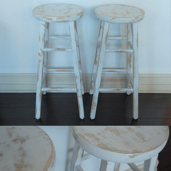 Amazing Free Shipping Pair Of Rustic Wood Stool Two 2 Tall Bar Kitchen Drafting Seat Chair Wooden Top White Base Primitive Chippy Farm Farmhouse Gmtry Best Dining Table And Chair Ideas Images Gmtryco