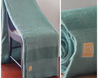 1960s Hudson's Bay Wool Four 4 Point Blanket / Throw - Pastel Reseda Sage Green - Hudson Bay Company Brand Made in England