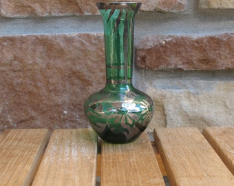 Vintage Green Bud Vase w/Sterling Silver inlay-free shipping