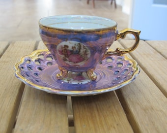 Vintage Royal Crown 55/906 Fine China cup, footed and saucer with reticulated lattice-free shipping USA
