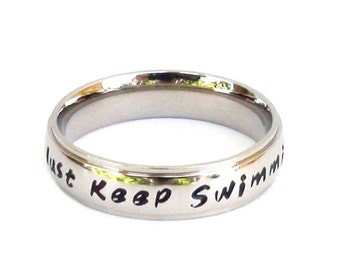Just Keep Swimming  - Ring Stainless Steel Jewelry Inspirational Jewelry Motivation Ring Swimmer Gift
