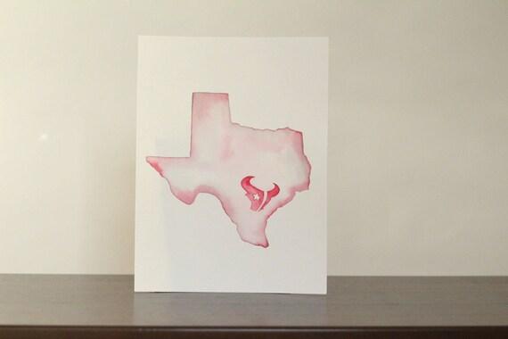 sale retailer e46dd 13079 Pink Houston Texans Original Watercolor Painting