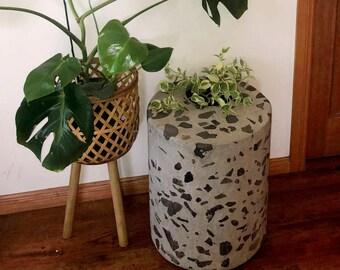 Planter - concrete indoor pot plant holder. Unique outdoor cylinder pot, exposed stone, polished concrete patio pot.