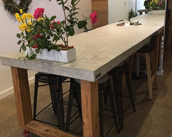 Rectangular Polished Concrete Dining Table With Loop End Timber Base, Real Concrete  Patio Outdoor/indoor Table. 2.1m X 1.1m