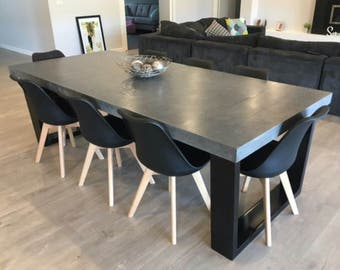 8 Seater 2.4m Dining Table, Polished Concrete Patio Outdoor/indoor Table  With Powder Coated Steel Base. 2.4m X 1.1m