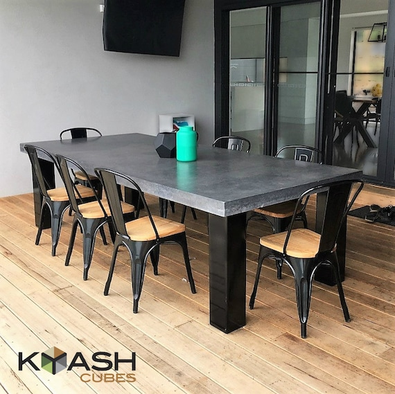 Polished Concrete 8 To 10 Seater Dining Table With 4 Powder Etsy
