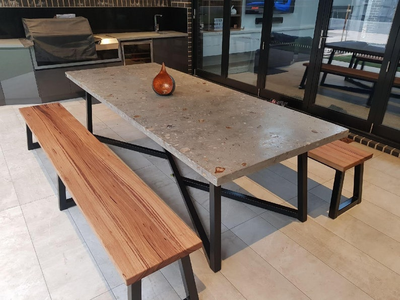 2 7m 12 Seater Exposed Aggregate Concrete Dining Table With Unique Steel Base Handmade Custom Indoor Or Outdoor Patio Or Dining Furniture