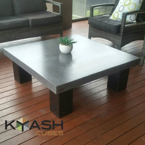 Polished Concrete Square Coffee Table Steel 4 Post Base 1m X 1m Table Low Lying Bespoke Industrial Look Concrete Table
