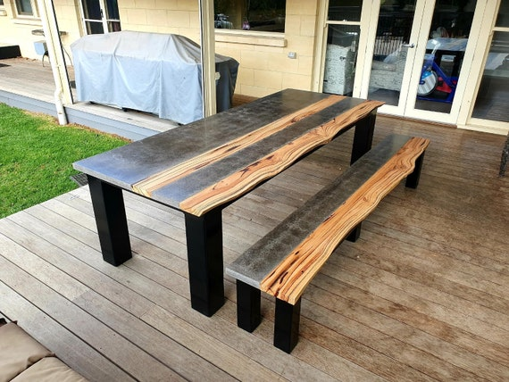 Hardwood Timber And Concrete Dining, Concrete Top Patio Table