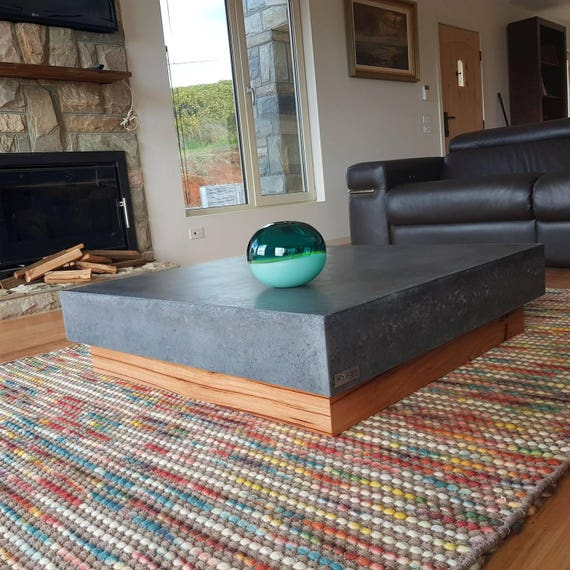 Polished Concrete Square Coffee Table Vic Ash Hardwood Base 1m X 1m Charcoal Table Low Lying Bespoke Industrial Look