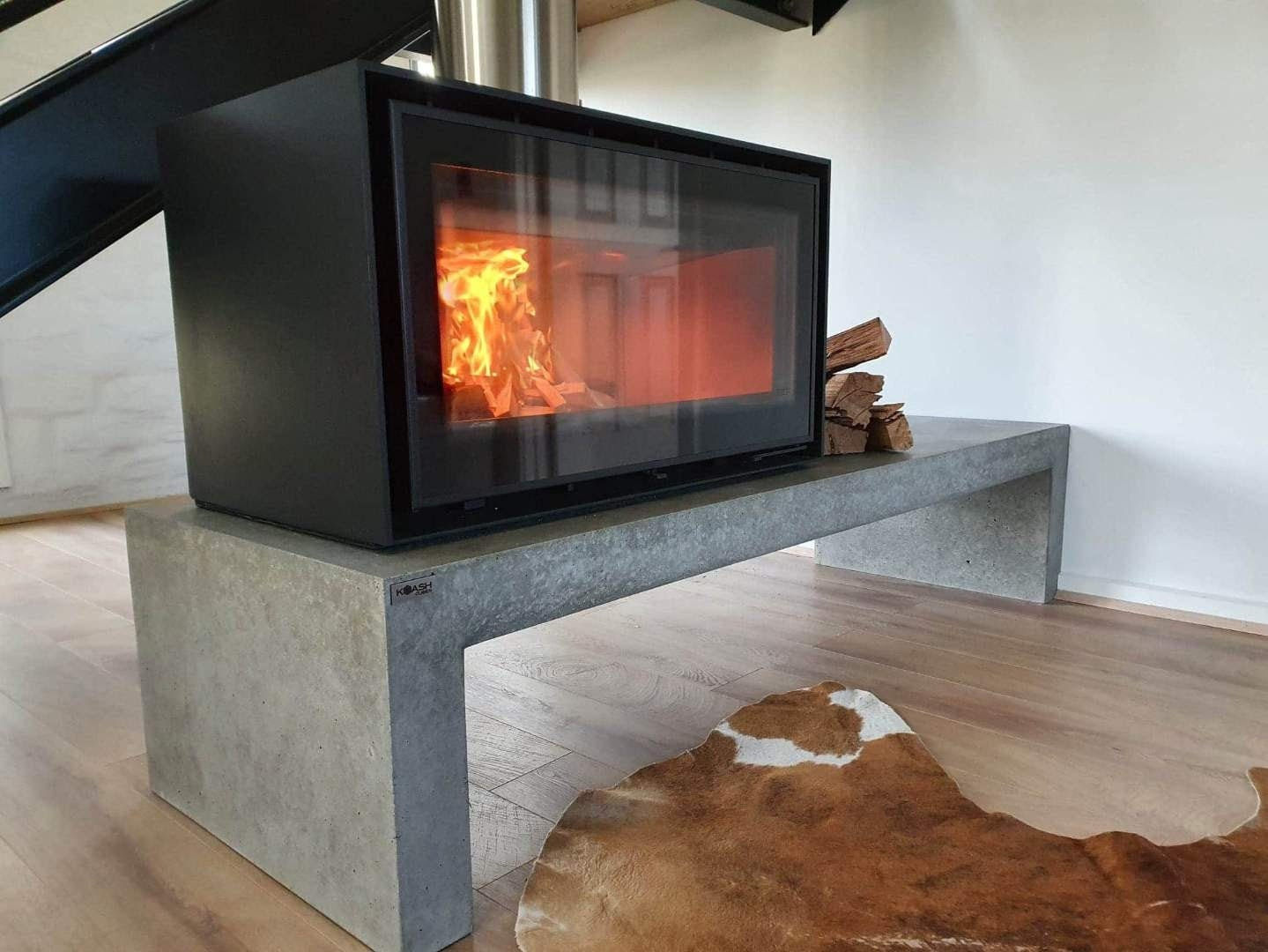 Concrete fire hearth 20.20m, open fire stand, fire plinth, fireplace stand.  Custom handmade polished floating hearth bench.