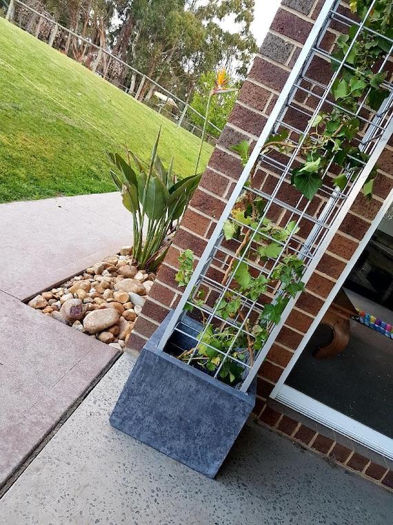 Silver Trellis Vertical Garden Polished Concrete Planter Etsy