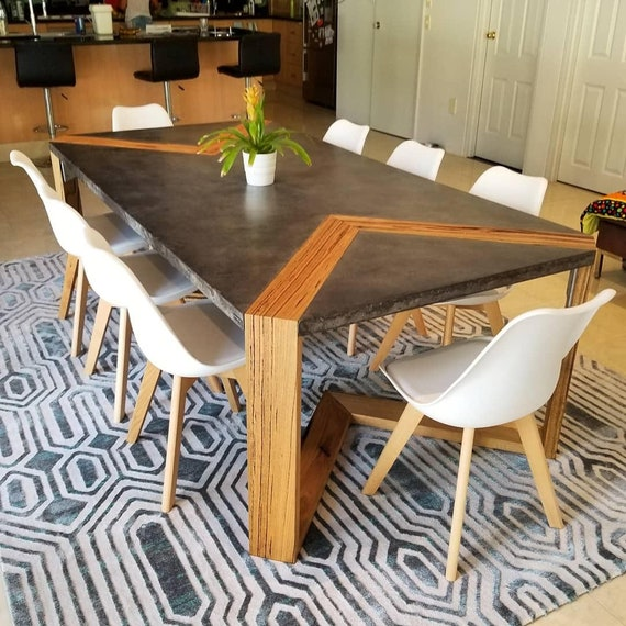 Concrete Dining Table With Unique V, Concrete Dining Room Table