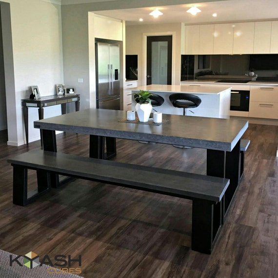 Polished Concrete 8 To 10 Seater 2 1m Dining Table With Bench Etsy