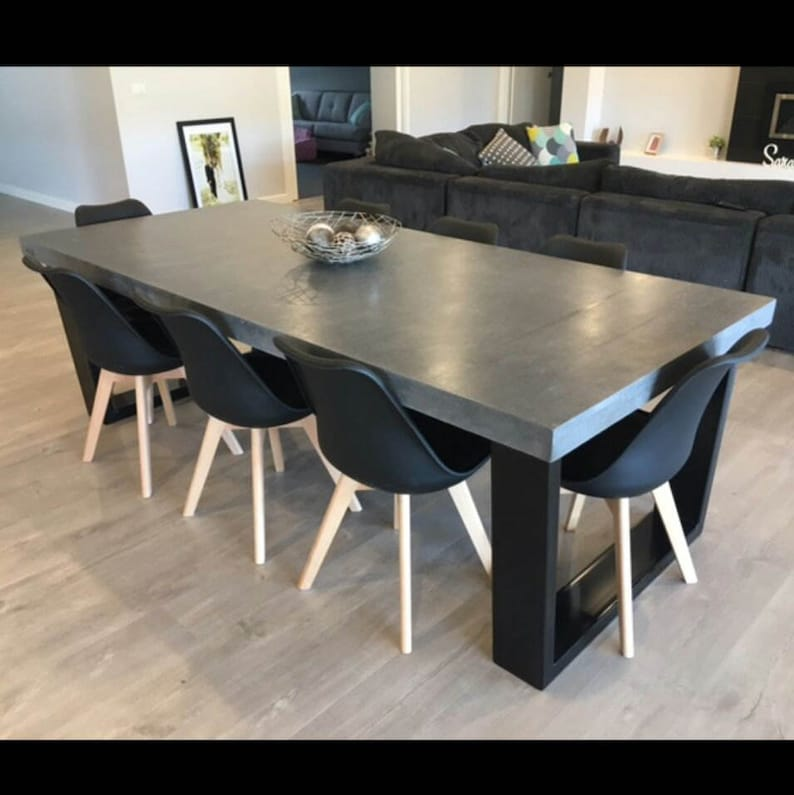 Stupendous 8 Seater 2 4M Dining Table Polished Concrete Patio Outdoor Indoor Table With Powder Coated Steel Base 2 4M X 1 1M Home Interior And Landscaping Ponolsignezvosmurscom
