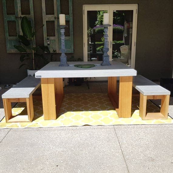 Square Concrete 1 5m X 1 5m 8 Seater Bespoke Polished Dining Etsy
