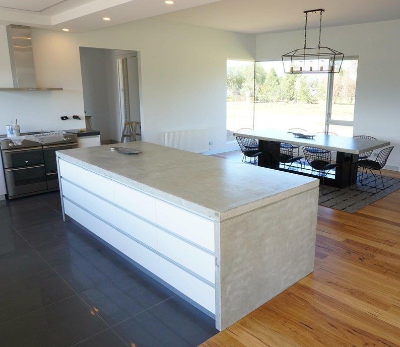 Polished Concrete Kitchen Counter Benchtop Handmade Real Etsy