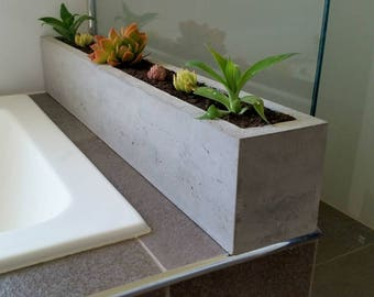 Polished concrete planter; large rectangular 900mm succulent or herb garden planter for a kitchen window sill or bathroom .