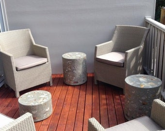 Unique concrete outdoor cylinder setting of 3, polished concrete, stone ottoman furniture, chair and table set