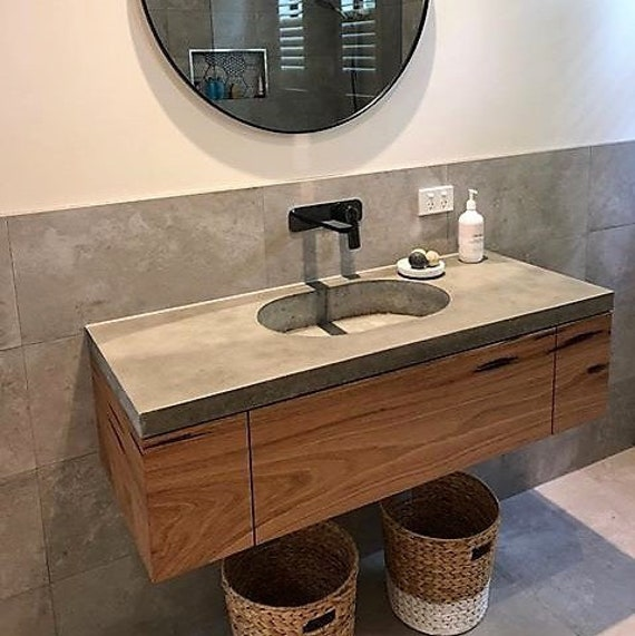 buy online 749a2 e352b Floating polished concrete charcoal vanity, custom handmade real concrete  bathroom or ensuite with hardwood cabinetry and single drawer