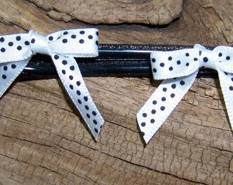 Black and White Polka dot fabric  bow hair pins
