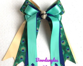 Hair Bows for Horse Shows/ Beautiful Blue Green Teal Gold Peacock Print/Stylish/Ready2Mail