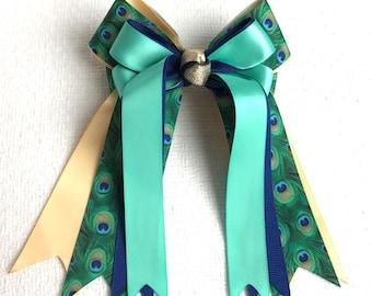 Ready2Mail Hair Bows for Horse Shows/ Beautiful Blue Green Teal Gold Peacock Print/Stylish